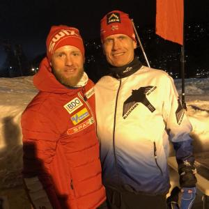 Coach Steve with MJ Sundby, Norwegian Olympic skier