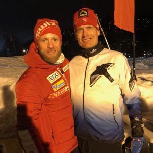 Coach Steve with MJ Sundby, Norwegian Olympic skier